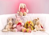 10965746-five-toy-rabbits-on-a-pink-background